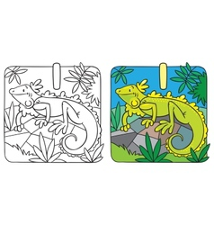 Little iguana coloring book alphabet i vector