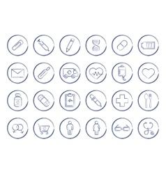 Medicine pen drawing linear icons vector