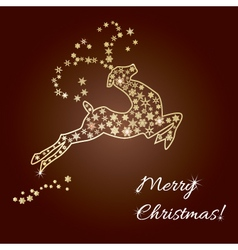 Merry christmas greeting deer made of snowflakes vector image vector image