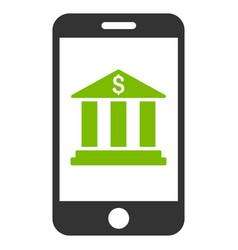 mobile bank flat icon vector image vector image