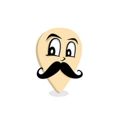 mustache gentleman map pin locator - location vector image