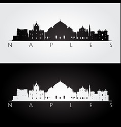 Naples skyline and landmarks silhouette vector