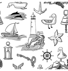 pattern with doodle marine objects vector image vector image