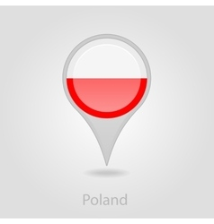 Poland flag pin map icon vector