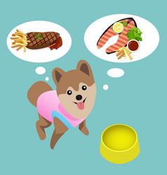 Pomeranian dog with empty bowl want to eat steak vector