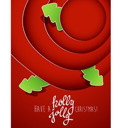 Red circles with christmas tree badges and holly vector