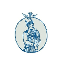 Scotsman bagpiper playing bagpipes etching vector
