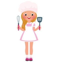 Smiling girl chef vector image vector image