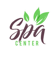 Spa studio logo stroke green leaf vector