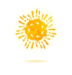 Sun made of handprint concept for your design vector image vector image