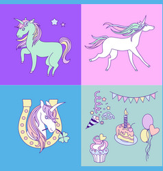 Unicorn holiday card with four colorful parts vector