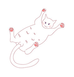 White cute cat laying on back vector