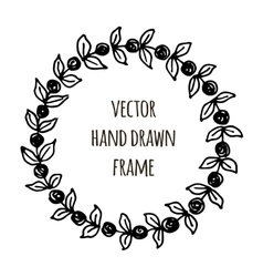 Hand drawn wreath made in  leaves garlands vector