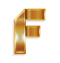 Letter metal gold ribbon - F vector image