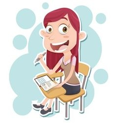 Student sit on lecture chair vector