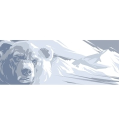 Angry bear in the snowy mountains vector image