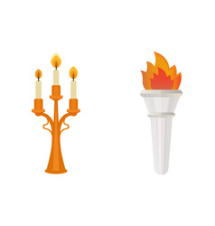fire torch victory champion flame icon vector image