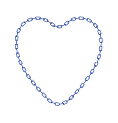 Blue chain in shape of heart vector