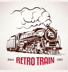 Retro train vintage symbol emblem label vector