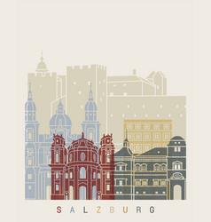 Salzburg skyline poster vector