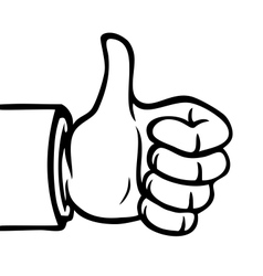 Black and white thumbs up vector