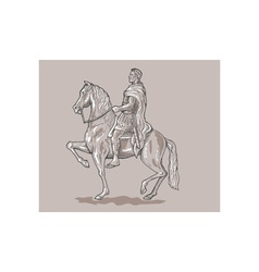 Roman emperor soldier riding horse vector