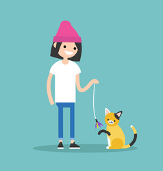 Young female character playing with a cat flat vector