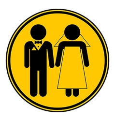 Wedding couple button vector