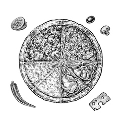 Set of hand drawn ink pizza and ingredients black vector