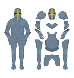 Medieval knight armor parts vector
