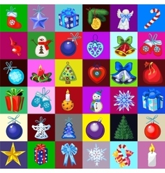 Big christmas decorations set 36 icons vector