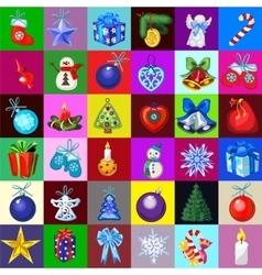 Big christmas decorations set 36 icons vector image