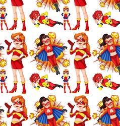 Seamless female superhero in red vector image
