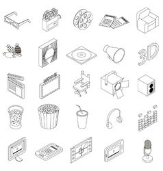 Cinema icons set isometric 3d style vector