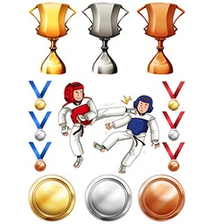Taekwondo and many trophies and medals vector