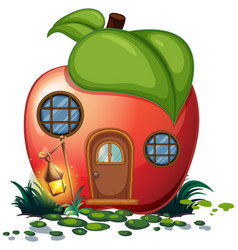 apple house with lantern vector image vector image