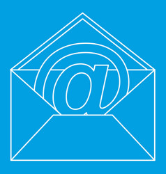 at sign mail in envelope icon outline style vector image