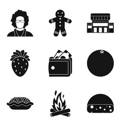 Bench bakery icons set simple style vector