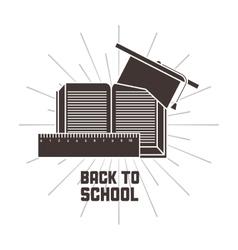 Book rule graduation cap icon back to school vector