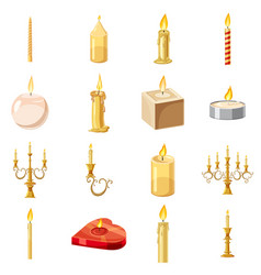 candles forms icons set cartoon style vector image
