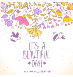 card birds and flowers vector image vector image