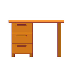 Colorful graphic with wooden office desk with vector