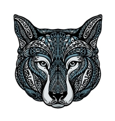 Ethnic ornamented dog or wolf vector