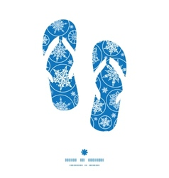 Falling snowflakes flip flops silhouettes pattern vector