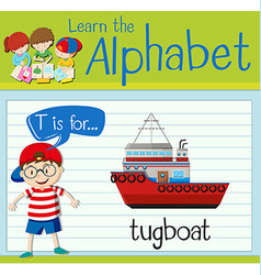 Flashcard letter t is for tugboat vector