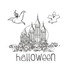 Halloween haunted house doodles vector