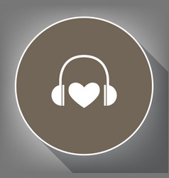 headphones with heart white icon on brown vector image