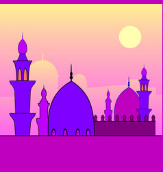 Landscape with mosques and sunset vector