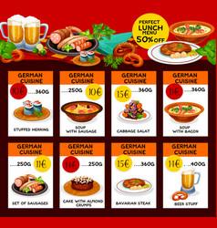 Menu price cards of german cuisine vector
