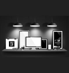 Modern workspace design vector